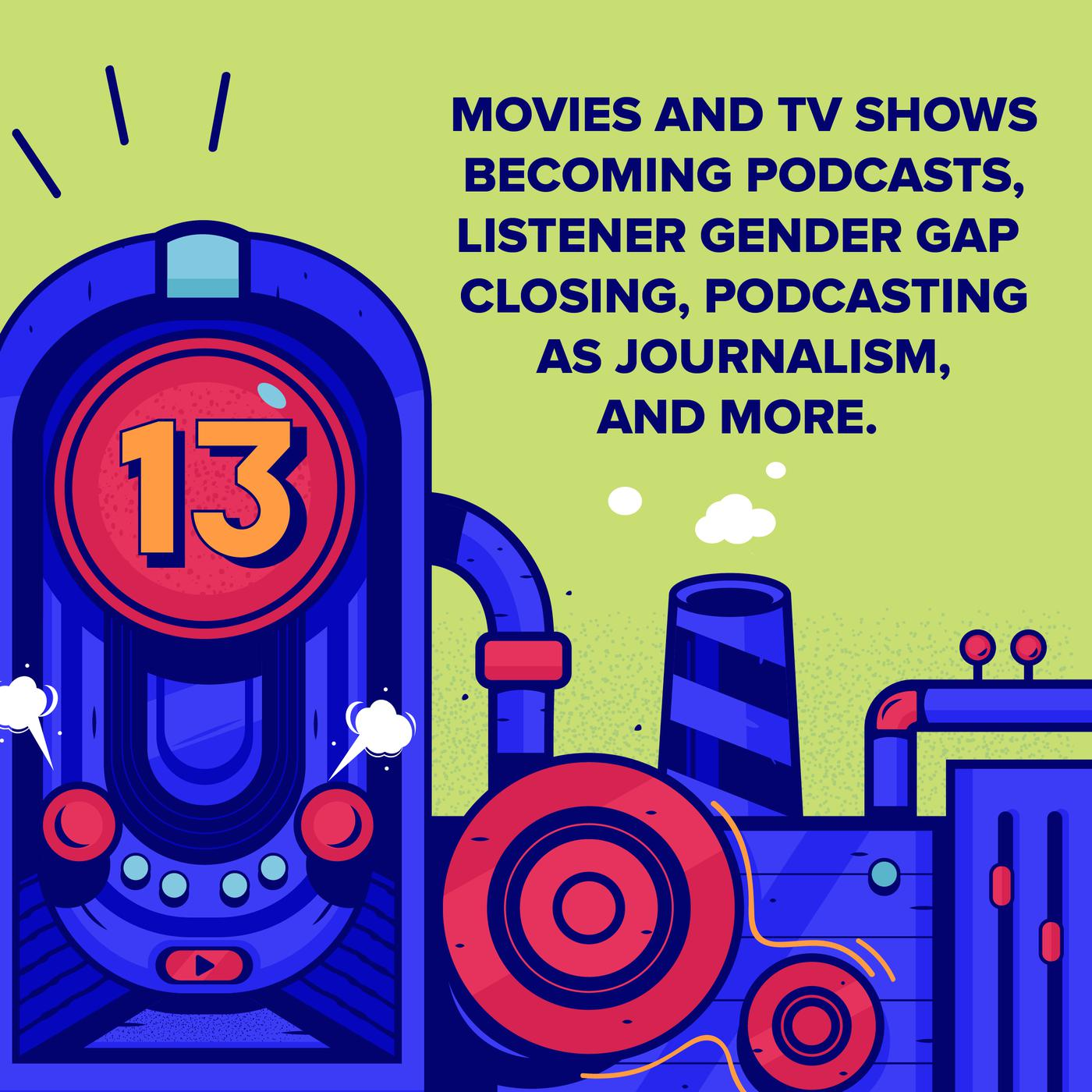 Episode 13 (TWIP) - Movies and TV Shows Becoming Podcasts, Listener Gender Gap Closing, Podcasting as Journalism, and More.