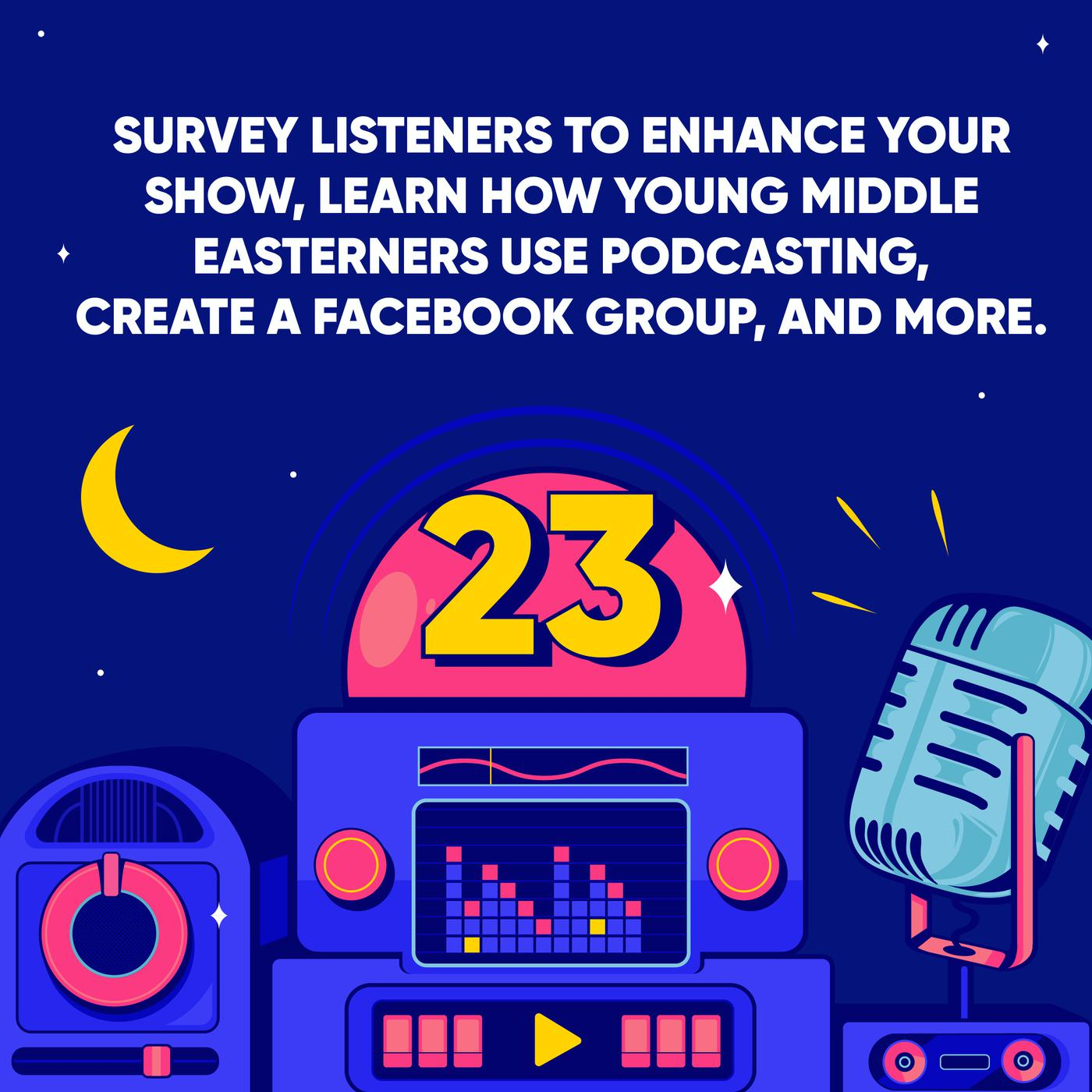 Survey Listeners to Enhance your Show, Learn how Young Middle Easterners use Podcasting, Create a Facebook Group, and More.