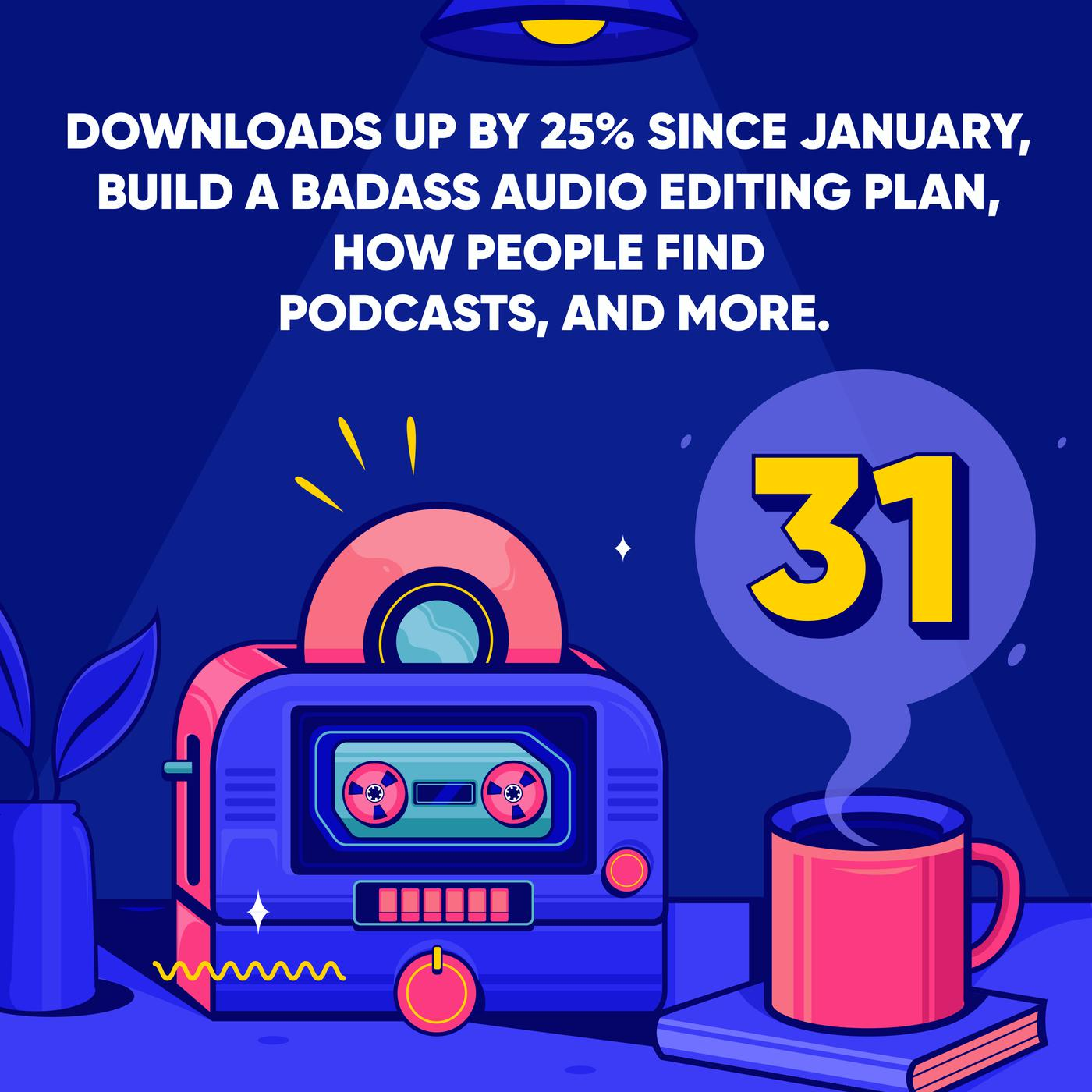 Downloads up by 25% Since January, Build a Badass Audio Editing Plan, how People find Podcasts, and More.